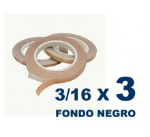 Cinta De Cobre Eco De 3/16 Fondo Negro (4,76mm) X 3 Unidades