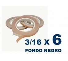 Cinta De Cobre Eco De 3/16 Fondo Negro (4,76mm) X 6 Unidades