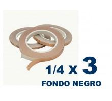Cinta De Cobre Eco De 1/4 Fonfo Negro (6,35mm) X 3 Unidades
